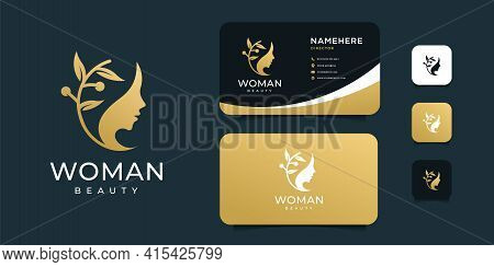Luxury Spa Woman Face With Olive Leaf Plant Logo Design Vector Set. Logo Can Be Used For Icon, Brand