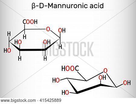 Mannuronic Acid Molecule. Alginate Is Composed Of Mannuronic Acid And Guluronic Acid. Structural Che