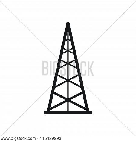 Electric Tower Icon. Oil Derrick Sign. Oil Drilling Wells Symbol. Vector Isolated On White