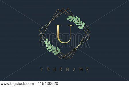 Golden Letter U Logo With Golden Square Frames And Green Leaf Design. Creative Vector Illustration W