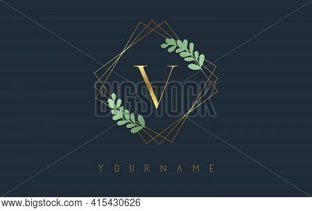 Golden Letter V Logo With Golden Square Frames And Green Leaf Design. Creative Vector Illustration W