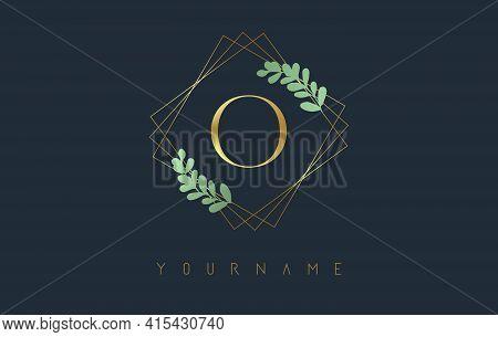 Golden Letter O Logo With Golden Square Frames And Green Leaf Design. Creative Vector Illustration W