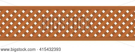 Brown Diagonal Crossed Wooden Plank Fence  Texture Abstract Background Vector Illustration
