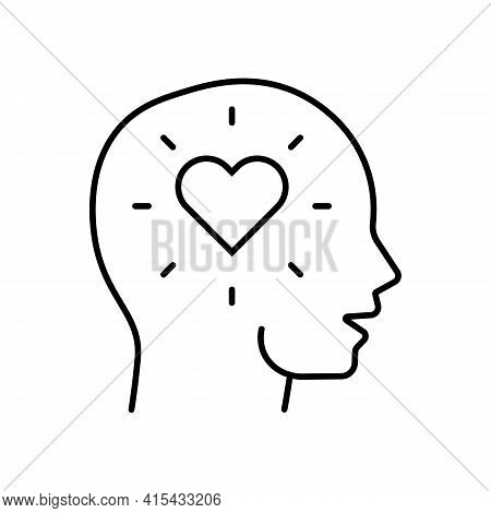 Heart Or Love In The Head Line Icon In Black. Human Head With Amour. Idea Of Novel. Flat Style Isola
