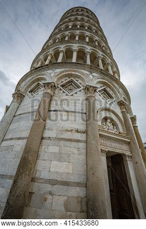 View Of Pisa Tower On Piazza Dei Miracoli In Pisa, Tuscany, Italy. Detail