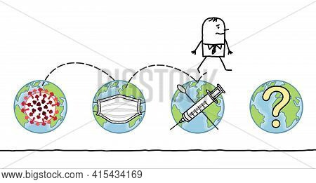 Hand Drawn Cartoon Man Jumping From The Earth Contaminated By The Virus, To The Next Stages