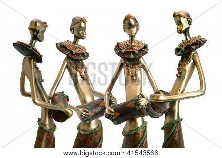 African figurines holding drums