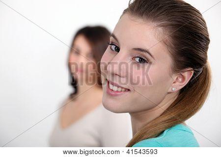 Teen sisters in studio