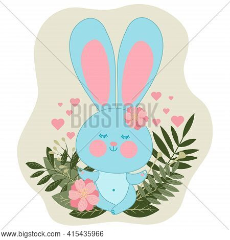 A Cute Rabbit Sits In A Lotus Position And Meditates In Nature. Meditating Hare Among Herbs And Flow