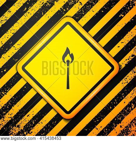 Black Burning Match With Fire Icon Isolated On Yellow Background. Match With Fire. Matches Sign. War