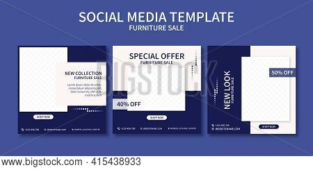 Set Of  Premium Furniture Sale Promo Social Media Post Template Collection. Best For Business Online
