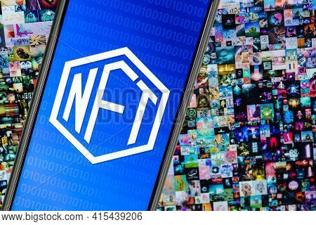 Kazan, Russia - April 03, 2021: Nft (non-fungible Token) Symbol On Screen Smartphone. On Background