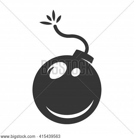 Bomb With Burning Fuse Bold Black Silhouette Icon Isolated On White. Grenade, Hand Frag Pictogram.