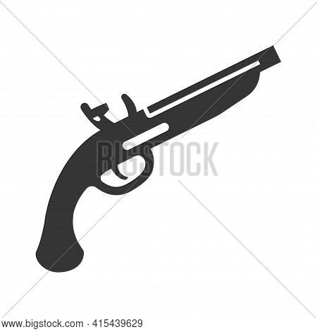 Duelling Pistol Bold Black Silhouette Icon Isolated On White. Firearm, Revolver, Antique Old Gun Pic