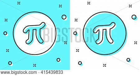 Black Line Pi Symbol Icon Isolated On Green And White Background. Random Dynamic Shapes. Vector