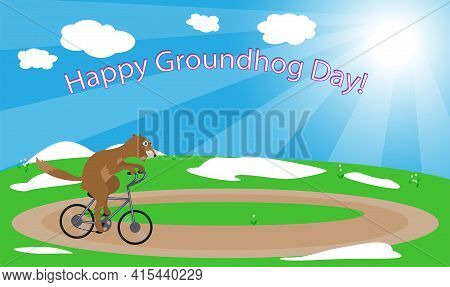 Illustration In The Groundhog Day Vector. Groundhog On A Bicycle.