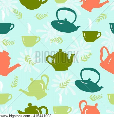 Seamless Pattern With Teapot, Teacup,green Leaves. Kitchen Background. Vector Design For Fabric, Clo