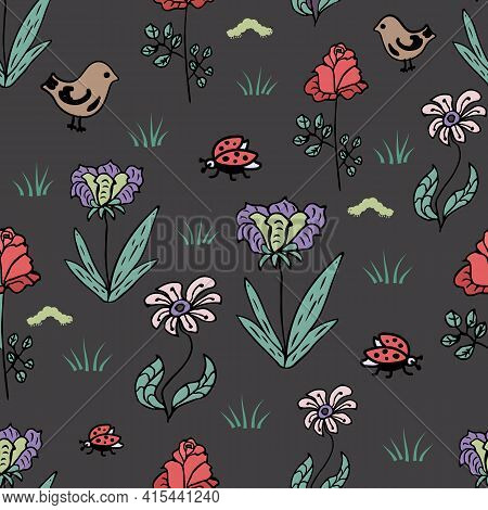 Seamless Children S Pattern With Fabulous Flowers, Bird And Ladybug