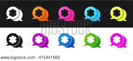 Set Dialogue With The Doctor Icon Isolated On Black And White Background. Doctor And Patient Dialog.