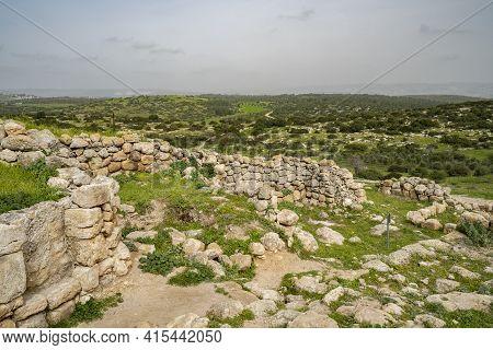 The Archeological Site Khirbat Umm Burj, In The Adullam Region, Israel, On A Hazy Day.