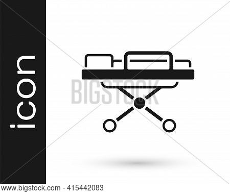 Black Stretcher Icon Isolated On White Background. Patient Hospital Medical Stretcher. Vector