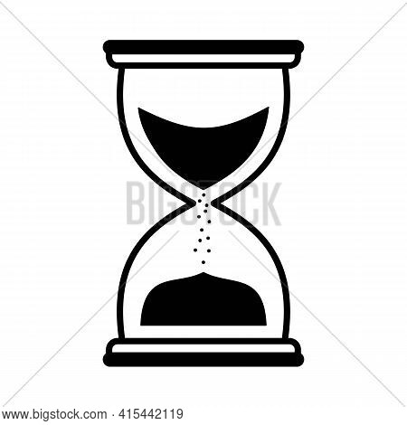 Hourglass Linear Icon In Black. Flat Sand Clock Or Hour Glass Sign. Isolated On White Background. Ti