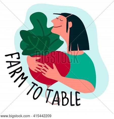 Happy Woman Holding Giant Beetroot With Farm To Table Quote. Harvesting, Fresh Vegetables Delivery,