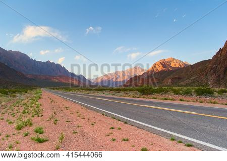 Asphalt Road Across The Andes Mountains In Mendoza, Argentina.