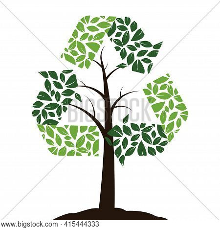 Recycling Icon In The Form Of A Tree. Symbol Of Reuse, Garbage Reduction And Recycling. Green Colors