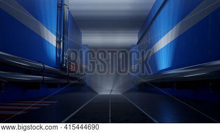 Clean, Modern Industrial Hallway With Stainless Steel Pipelines In Dim Light. Digital 3d Rendering.