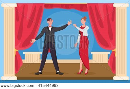 Opera Theater Scene With Red Curtain. Onstage Performance With Two Tenors. Flat Cartoon Vector Illus