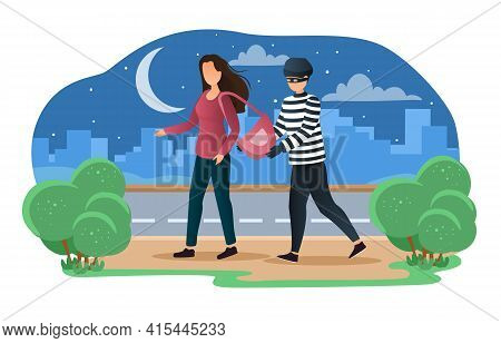 Criminal Committing Crime And Victim. Pickpocket Steal Wallet From The Purse. Robbery Or Theft Scene