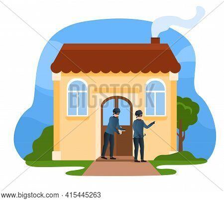 Criminal Committing Crime. Theft Use Lockpicks To Break The Door. Robbery Or Theft Scene. Flat Carto