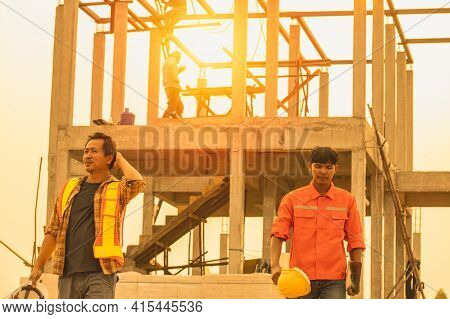 Foreman Is Inspecting The Construction Site.