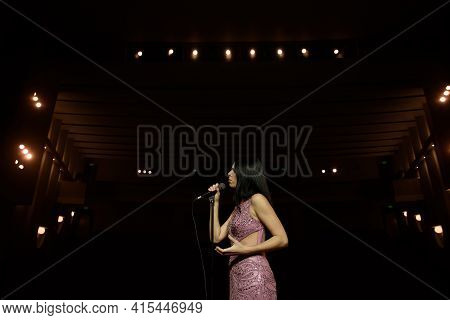 Beautiful Singer Against The Auditorium. Back View Girl In Long Gown Performing On Stage.