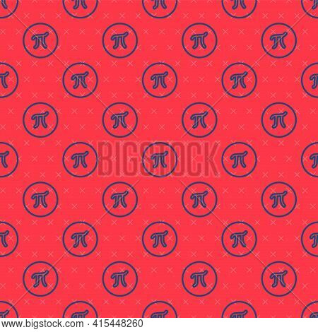 Blue Line Pi Symbol Icon Isolated Seamless Pattern On Red Background. Vector