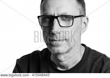 Handsome Man In Spectacles. Black And White Portrait Isolated On White Background.