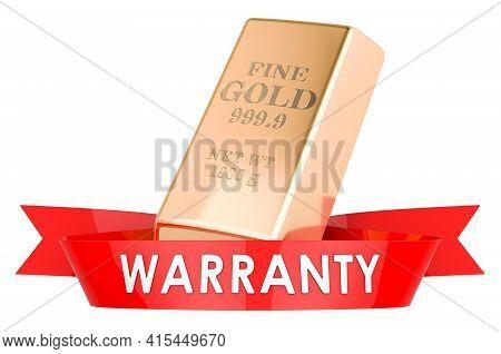 Golden Bullion Warranty Concept. 3d Rendering Isolated On White Background