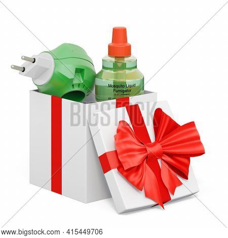 Fumigator Inside Gift Box, Present Concept. 3d Rendering Isolated On White Background