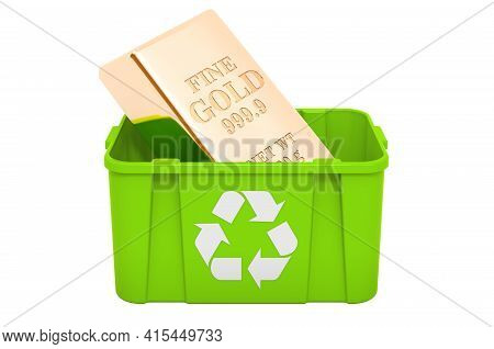 Recycling Trashcan With Gold Ingot. 3d Rendering Isolated On White Background
