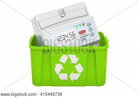 Recycling Trashcan With Digital Electric Meter. 3d Rendering Isolated On White Background