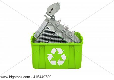 Recycling Trashcan With Oil-filled Transformer, Luggage. 3d Rendering Isolated On White Background