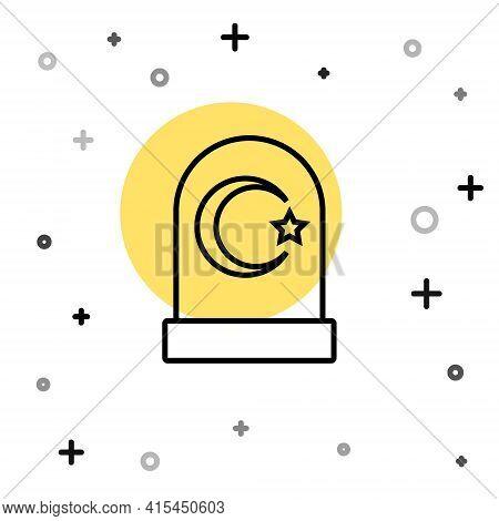 Black Line Muslim Cemetery Icon Isolated On White Background. Islamic Gravestone. Random Dynamic Sha