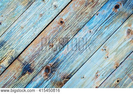 Rustic Table Built With Aged Wooden Planks. Abstract Background.