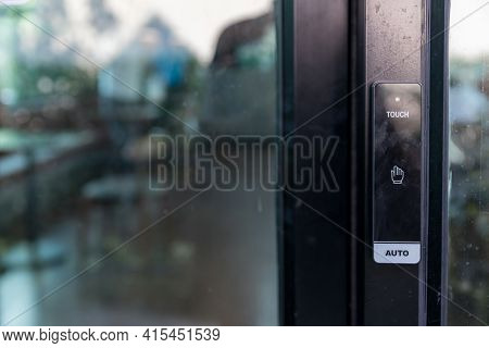 Automatic Sliding Door With Wireless Push Button For User Controller. Wireless Push Button Or Press
