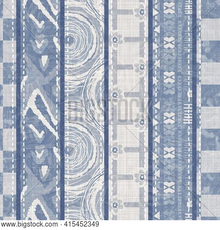 Shabby Chic French Grey Blue Linen Patchwork Stripe. Grunge Washed Out Vintage Patched Textile Effec