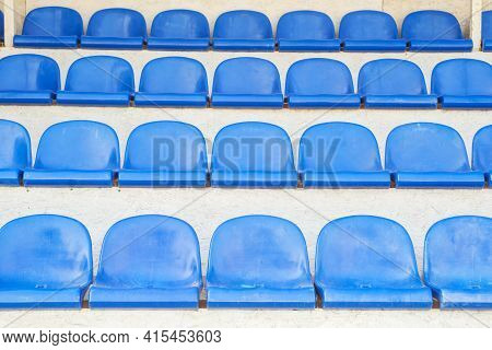 Empty Blue Seats Of Sport Stadium. Sports Events, Competitions, Championships, Without Spectators Du