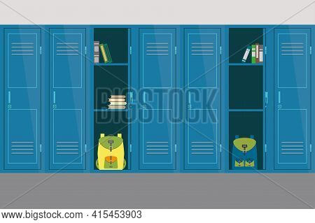 Open And Closed School Lockers, School Interior And Furniture