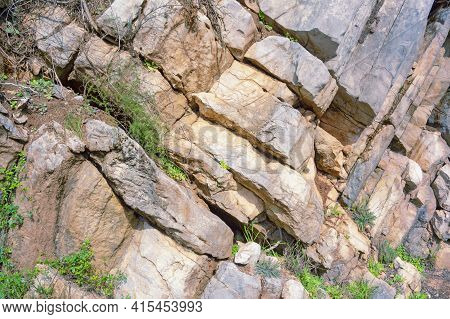 Stones And Grass, Natural Stone Background, Detail Of Vertical Cliff In Dinaric Alps