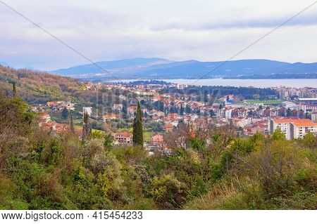 Beautiful Mediterranean Landscape. Montenegro. View Of Tivat City From Mountainside On Spring Day